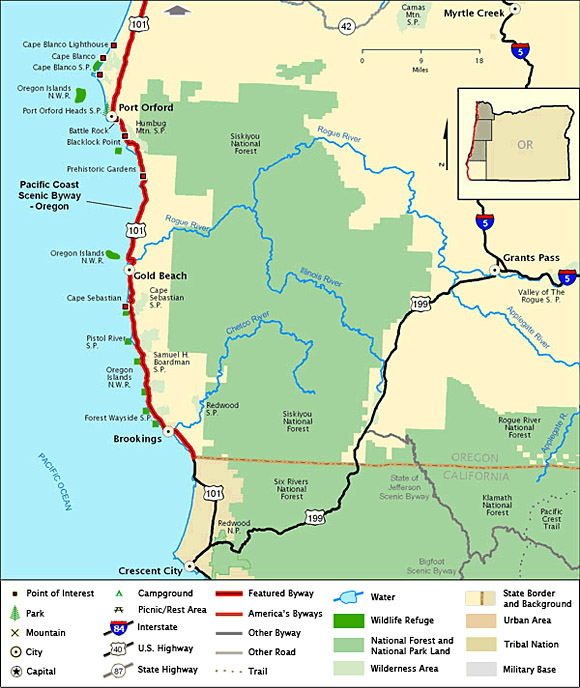 Byway Map For Southern Oregon Coast on
